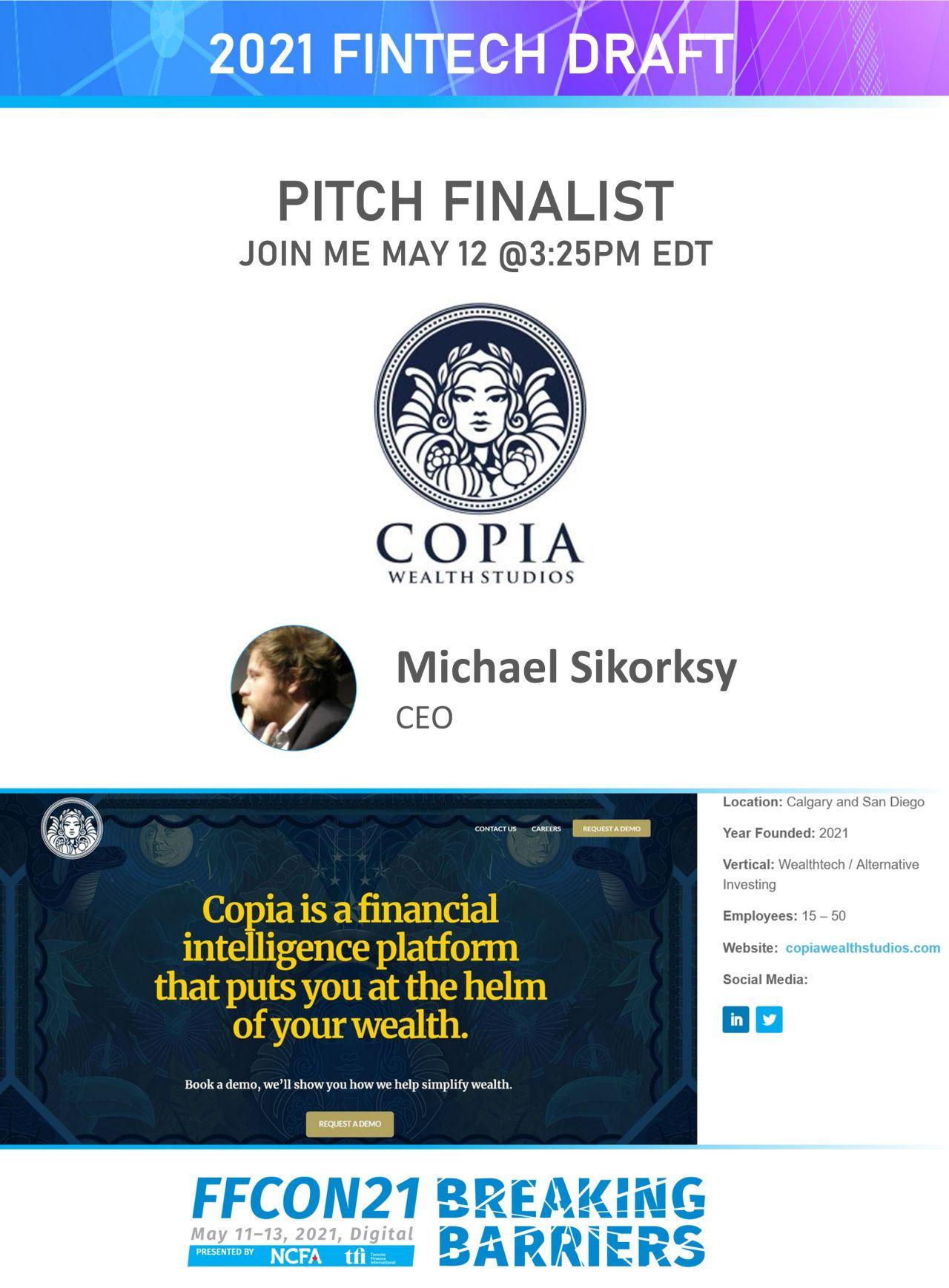 FFCON21 Pitch Finalist Copia Wealth Studios