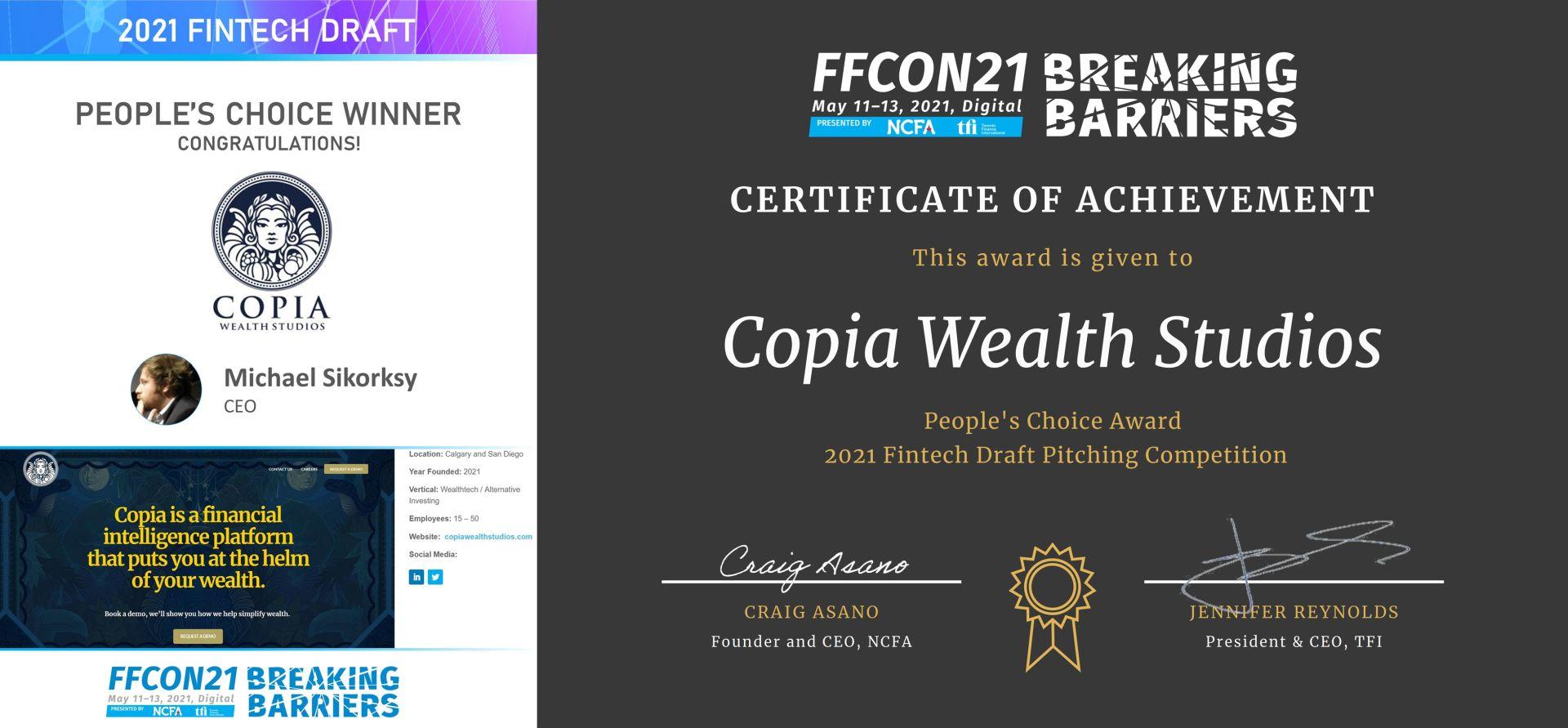 FFCON 2021 Fintech Draft People's Choice Winner - Copia Wealth Studios